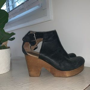 Free People Wooden Clogs with strap.